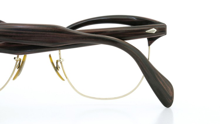 American Optical アメリカンオプチカル (AO)Vintage ヴィンテージ 1960s ウイング鋲 マルコムX 1/10-12KGF ウッド/ゴールド 48size 11