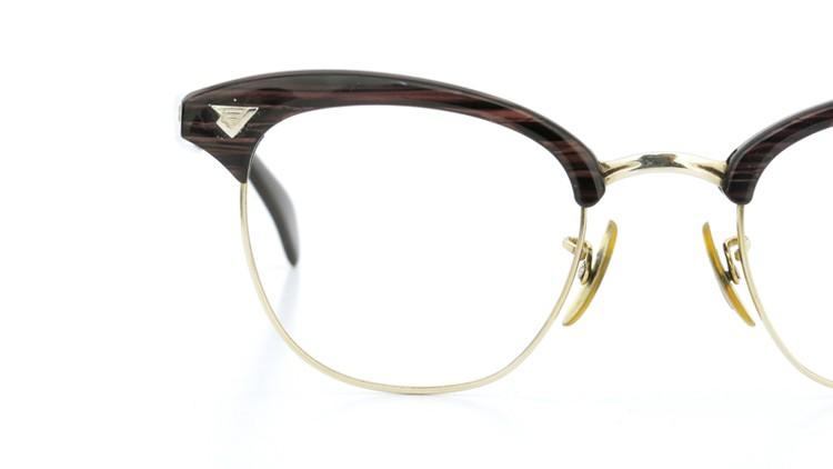 American Optical アメリカンオプチカル (AO)Vintage ヴィンテージ 1960s ウイング鋲 マルコムX 1/10-12KGF ウッド/ゴールド 48size 12