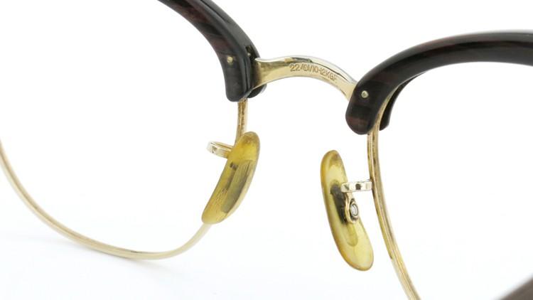 American Optical アメリカンオプチカル (AO)Vintage ヴィンテージ 1960s ウイング鋲 マルコムX 1/10-12KGF ウッド/ゴールド 48size 9