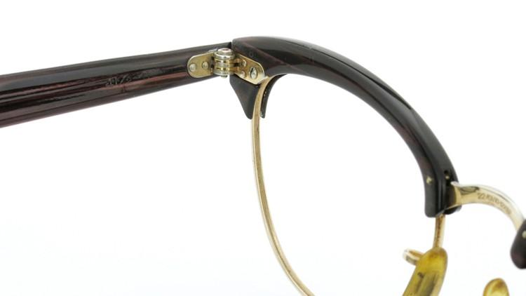 American Optical アメリカンオプチカル (AO)Vintage ヴィンテージ 1960s ウイング鋲 マルコムX 1/10-12KGF ウッド/ゴールド 48size 8