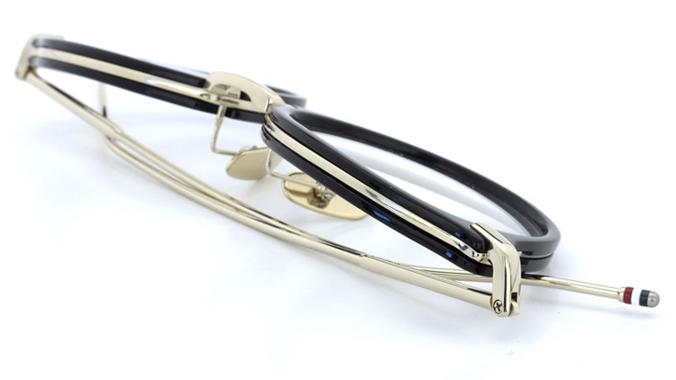 THOM BROWNE.  NEW YORK(トムブラウンニューヨーク)メガネ TB-011A 46size BLACK/SHINY 12K GOLD BRIDGE&TEMPLES イメージ13