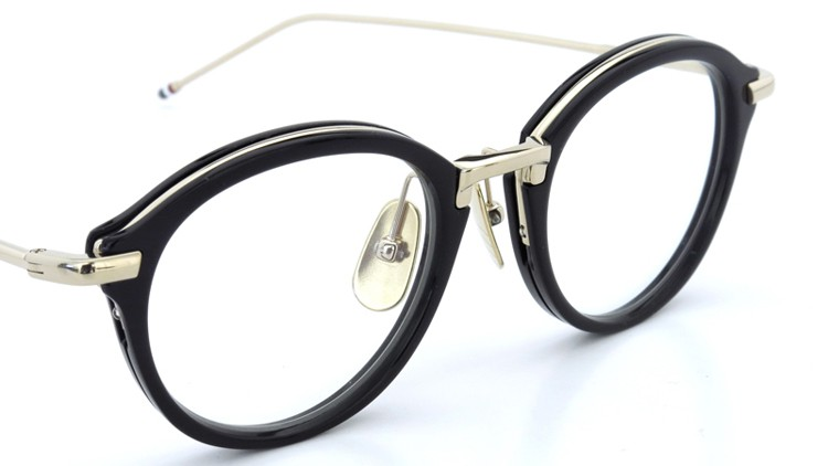 THOM BROWNE.  NEW YORK(トムブラウンニューヨーク)メガネ TB-011A 46size BLACK/SHINY 12K GOLD BRIDGE&TEMPLES イメージ6