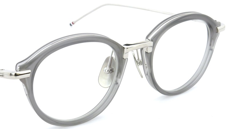 THOM BROWNE.  NEW YORK(トムブラウンニューヨーク)メガネ TB-011C 46size SATIN GREY CRYSTAL/SHINY SILVER BRIDGE AND TEMPLES 6