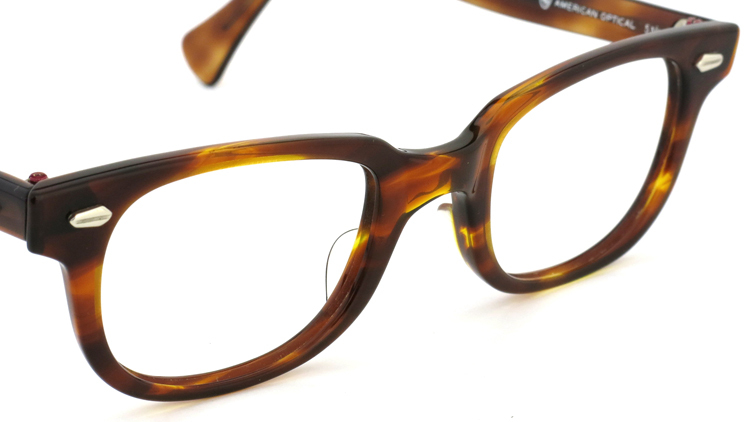 American Optical アメリカンオプチカル (AO)Vintage ヴィンテージメガネ F523 MAINEVENT 変形ダイヤ鋲 AMBER 46-22 6