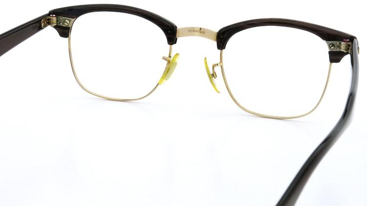 アメリカンオプチカル (AO)Vintage ヴィンテージ 60s マルコムXモデル type:2 ウイング鋲 1/10-12KGF Wood/Gold 46-22 7