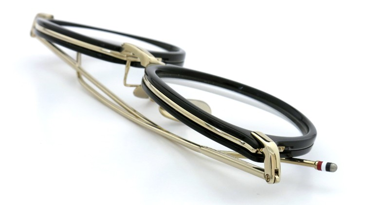 THOM BROWNE. (トムブラウン)メガネ TB-011A 49size BLACK/SHINY 12K GOLD BRIDGE&TEMPLES イメージ10