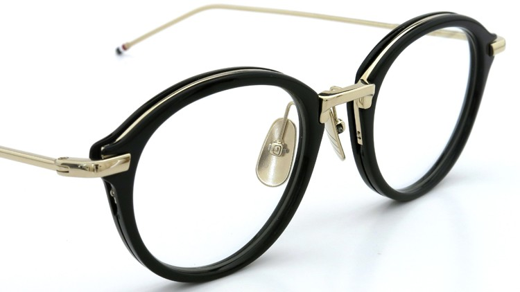 THOM BROWNE. (トムブラウン)メガネ TB-011A 49size BLACK/SHINY 12K GOLD BRIDGE&TEMPLES イメージ5