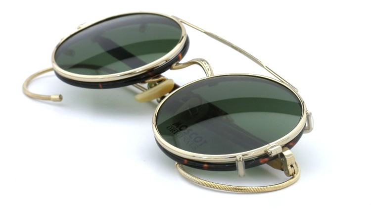 MOSCOT ORIGINALS (モスコット) 2014年新作 メガネ+クリップオンサングラス セット NOSH 44size Tortoise-Gold with clipon Green-lense 12