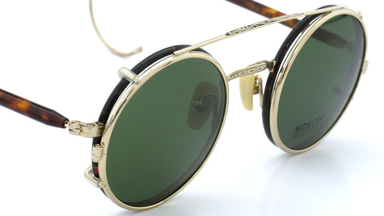 MOSCOT ORIGINALS (モスコット) 2014年新作 メガネ+クリップオンサングラス セット NOSH 44size Tortoise-Gold with clipon Green-lense 7