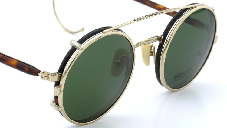 MOSCOT ORIGINALS (モスコット) 2014年新作 メガネ+クリップオンサングラス セット NOSH 44size Tortoise-Gold with clipon Green-lense 7