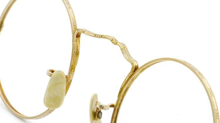 American Optical アメリカン オプティカル  antique アンティーク メガネ 1930s MARSHWOOD 1/10 12kGF 40□24 Yellow-Gold 8