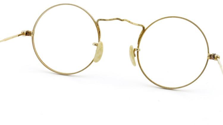 American Optical アメリカン オプティカル  antique アンティーク メガネ 1930s MARSHWOOD 1/10 12kGF 40□24 Yellow-Gold 7