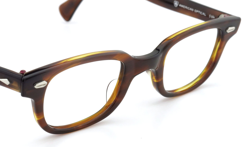 American Optical アメリカンオプティカル (AO)Vintage ヴィンテージメガネ F523 MAIN EVENT 変形ダイヤ鋲 AMBER 44-24 6