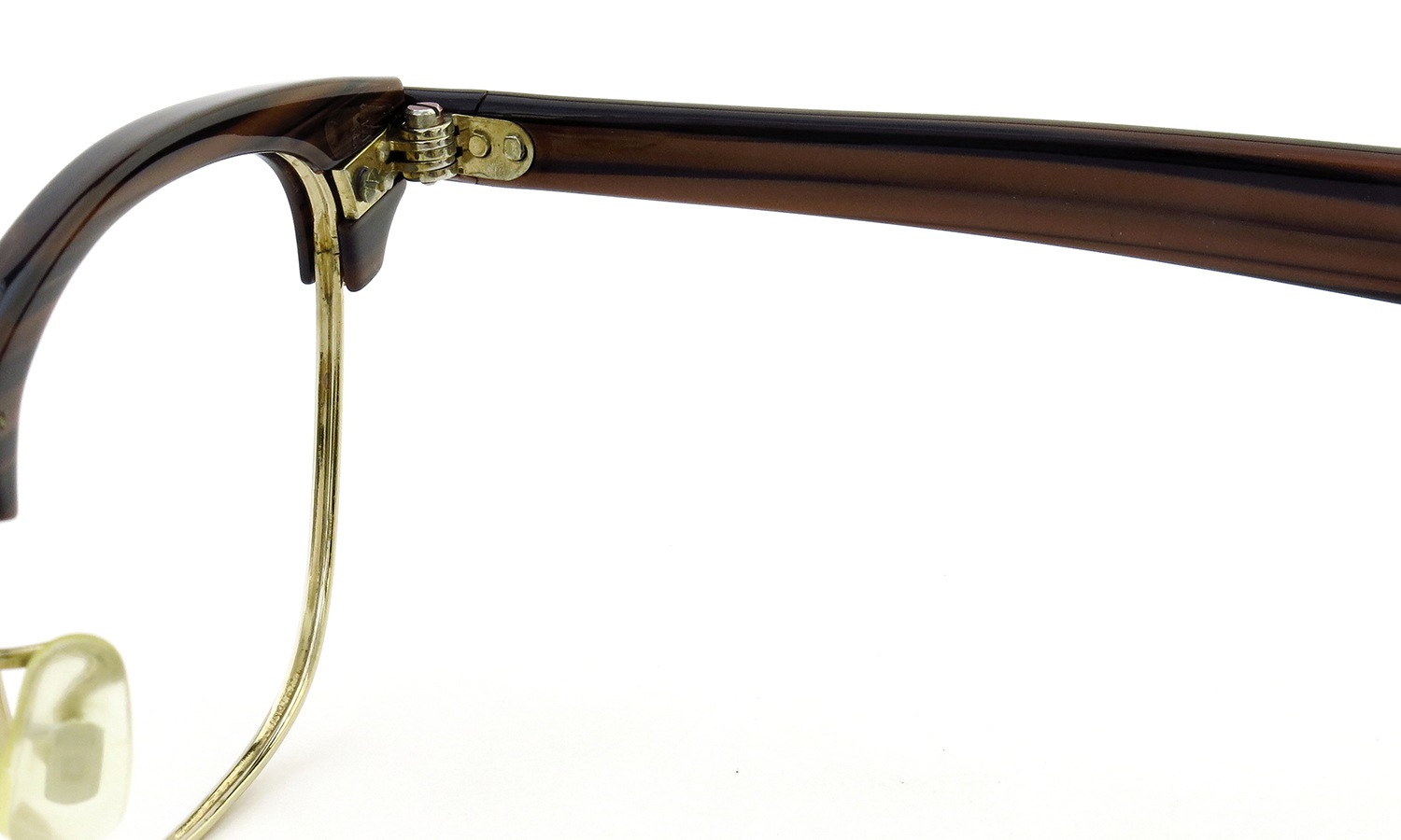 American Optical Vintage Malcolm-X type:2 ウイング鋲 Wood/Gold 48-22