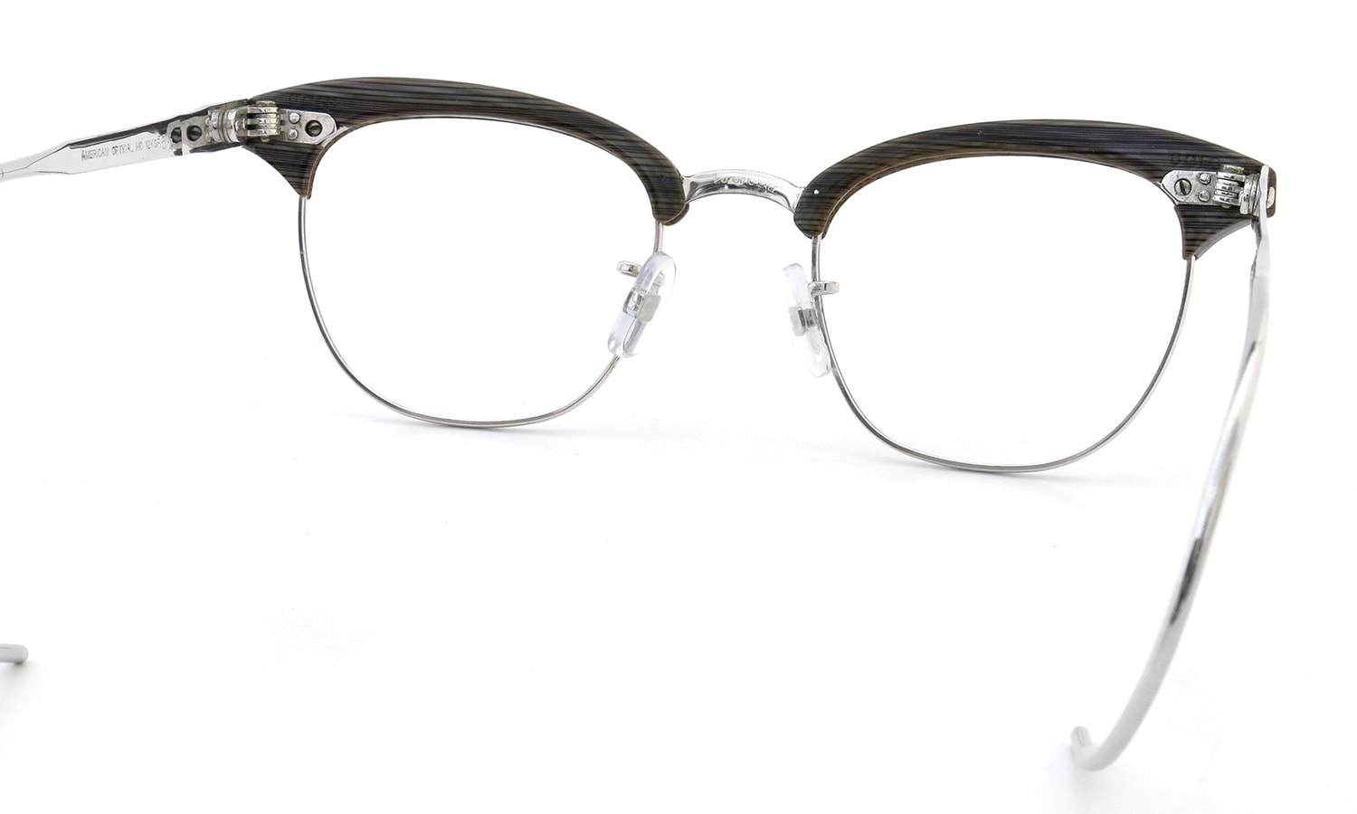 American Optical Vintage Malcolm-X type:2 1/10 12 KGFウイング鋲 Grey-Marble/White-Gold