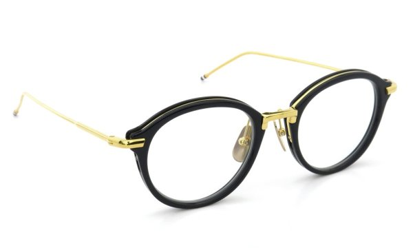 THOM BROWNE.  NEW YORK(トムブラウンニューヨーク)メガネ TB-011F 49size NAVY/SHINY 18K GOLD METAL BRIDGE&TEMPLES斜め