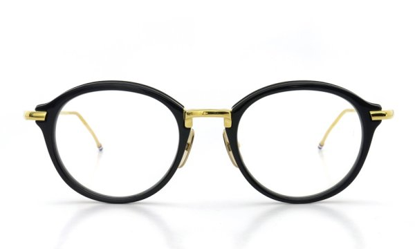 THOM BROWNE.  NEW YORK(トムブラウンニューヨーク)メガネ TB-011F 49size NAVY/SHINY 18K GOLD METAL BRIDGE&TEMPLES正面