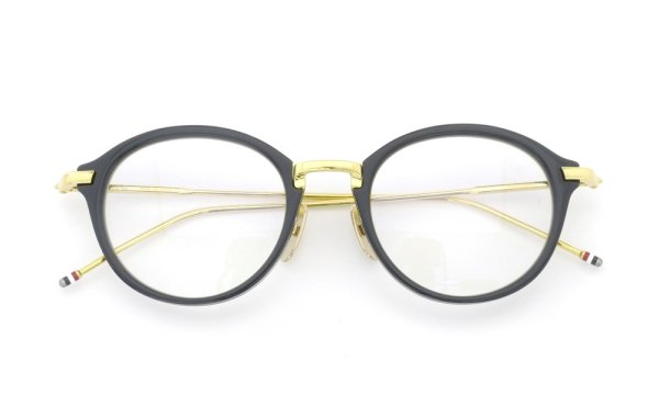THOM BROWNE.  NEW YORK(トムブラウンニューヨーク)メガネ TB-011F 49size NAVY/SHINY 18K GOLD METAL BRIDGE&TEMPLES折り畳み