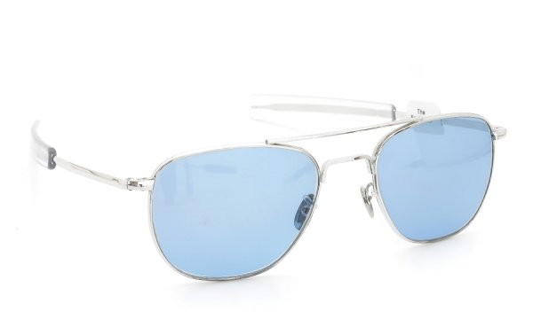 The Spectacle/ American Optical vintage 1950s〜1960s Mid-Century-Modern-Pilot White-Gold 1/10 12KGF Light-Blue-Lens