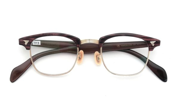 The Spectacle/ American Optical vintage 1950s~1960s マルコムXモデル type:2 ウイング鋲  BrownWood/Gold 46-22