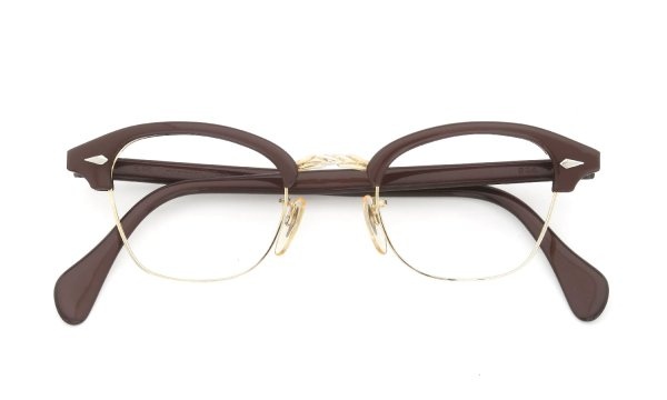 American Optical 1960s Art-Deco-Brow Combination Brown/Gold 1/10 12KGF 44-22