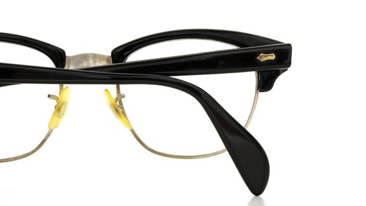 American Optical アメリカンオプチカル 60s (AO)1960s〜1980s サーモントブロー AO鋲 5-3/4 4-1/2 ブラック/シルバー 48サイズ 10