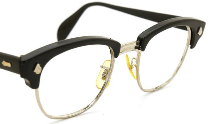 American Optical アメリカンオプチカル 60s (AO)1960s〜1980s サーモントブロー AO鋲 5-3/4 4-1/2 ブラック/シルバー 48サイズ 6