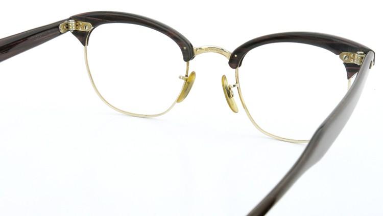 American Optical アメリカンオプチカル (AO)Vintage ヴィンテージ 1960s ウイング鋲 マルコムX 1/10-12KGF ウッド/ゴールド 48size 7