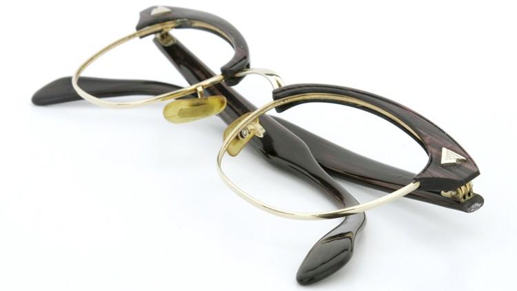 American Optical アメリカンオプチカル (AO)Vintage ヴィンテージ 1960s ウイング鋲 マルコムX 1/10-12KGF ウッド/ゴールド 48size 10