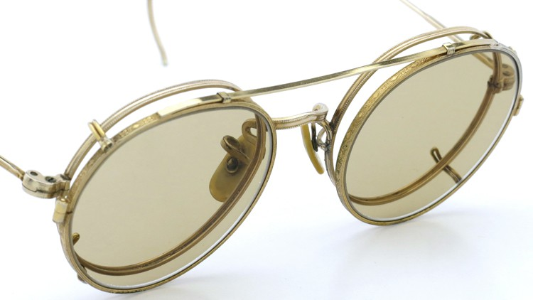 American Optical アメリカンオプチカル (AO)Vintage ヴィンテージ メガネ+クリップオン SQUIRE 1/10-12KGF with CLIPON Light-Brown-Lense 7