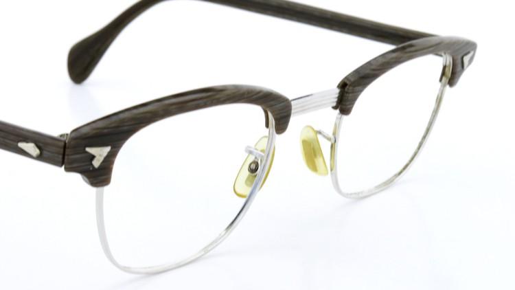 アメリカンオプチカル (AO)Vintage ヴィンテージ 60s マルコムXモデル type:2 ウイング鋲 1/10-12KGF Gray-Wood 46-24 6