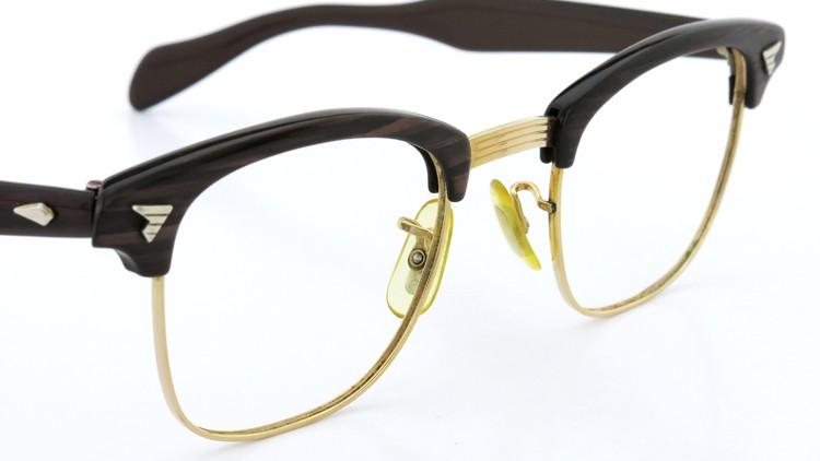 アメリカンオプチカル (AO)Vintage ヴィンテージ 60s マルコムXモデル type:2 ウイング鋲 1/10-12KGF Wood/Gold 46-22 6