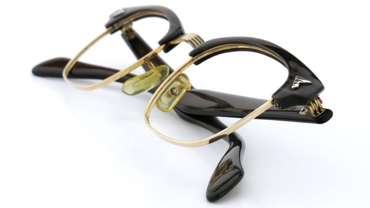 アメリカンオプチカル (AO)Vintage ヴィンテージ 60s マルコムXモデル type:2 ウイング鋲 1/10-12KGF Wood/Gold 46-22 11