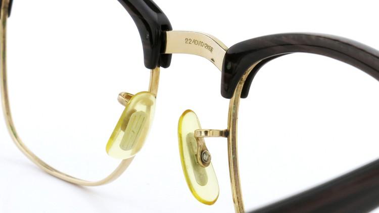 アメリカンオプチカル (AO)Vintage ヴィンテージ 60s マルコムXモデル type:2 ウイング鋲 1/10-12KGF Wood/Gold 46-22 8