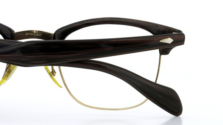 アメリカンオプチカル (AO)Vintage ヴィンテージ 60s マルコムXモデル type:2 ウイング鋲 1/10-12KGF Wood/Gold 46-22 13