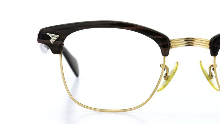 アメリカンオプチカル (AO)Vintage ヴィンテージ 60s マルコムXモデル type:2 ウイング鋲 1/10-12KGF Wood/Gold 46-22 14
