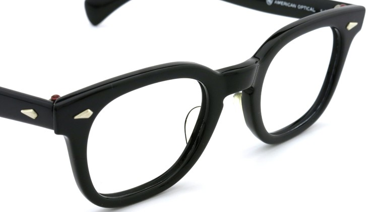 American Optical Vintage メガネ タ?イヤ鋲 BLACK 44-22 ヘ?ーハ?ースリーフ?付き 6