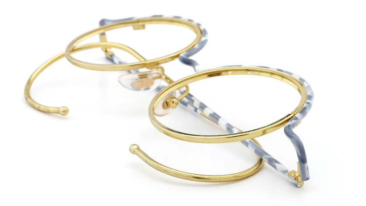 FRANCE Vintage フランスヴィンテージ メガネ ROUND BROW FRAME WHITE-MARBLE GOLD 11