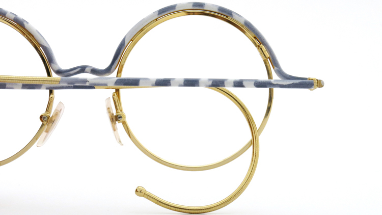 FRANCE Vintage フランスヴィンテージ メガネ ROUND BROW FRAME WHITE-MARBLE GOLD 13