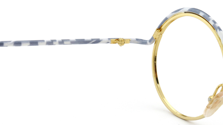 FRANCE Vintage フランスヴィンテージ メガネ ROUND BROW FRAME WHITE-MARBLE GOLD 9