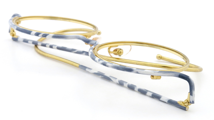 FRANCE Vintage フランスヴィンテージ メガネ ROUND BROW FRAME WHITE-MARBLE GOLD 12