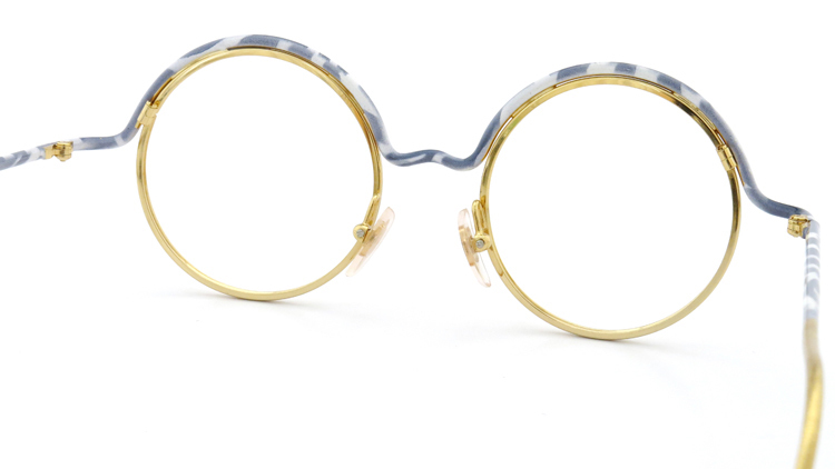 FRANCE Vintage フランスヴィンテージ メガネ ROUND BROW FRAME WHITE-MARBLE GOLD 7