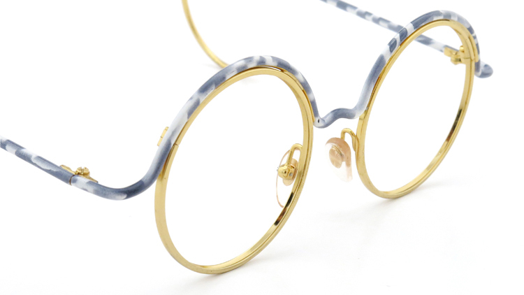 FRANCE Vintage フランスヴィンテージ メガネ ROUND BROW FRAME WHITE-MARBLE GOLD 6
