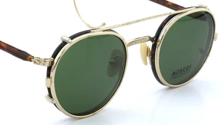 MOSCOT ORIGINALS (モスコット) 2014年新作 メガネ+クリップオンサングラス セット SPIEL 44size Tortoise-Gold with clipon Green-lense 5