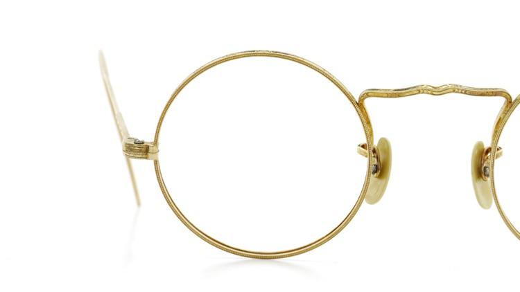 American Optical アメリカン オプティカル  antique アンティーク メガネ 1930s MARSHWOOD 1/10 12kGF 40□24 Yellow-Gold 15