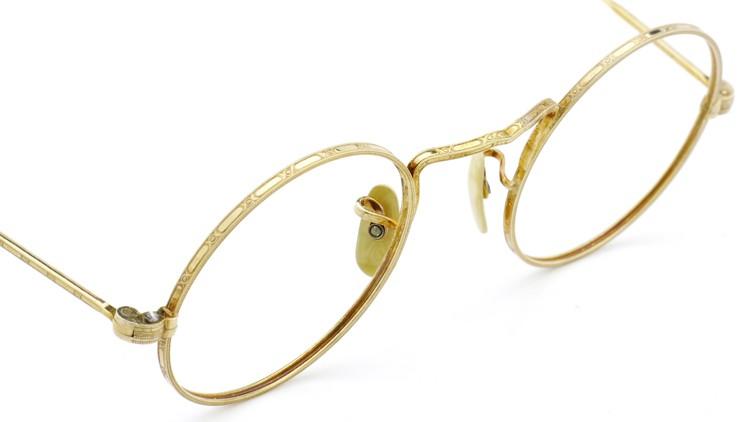 American Optical アメリカン オプティカル  antique アンティーク メガネ 1930s MARSHWOOD 1/10 12kGF 40□24 Yellow-Gold 6
