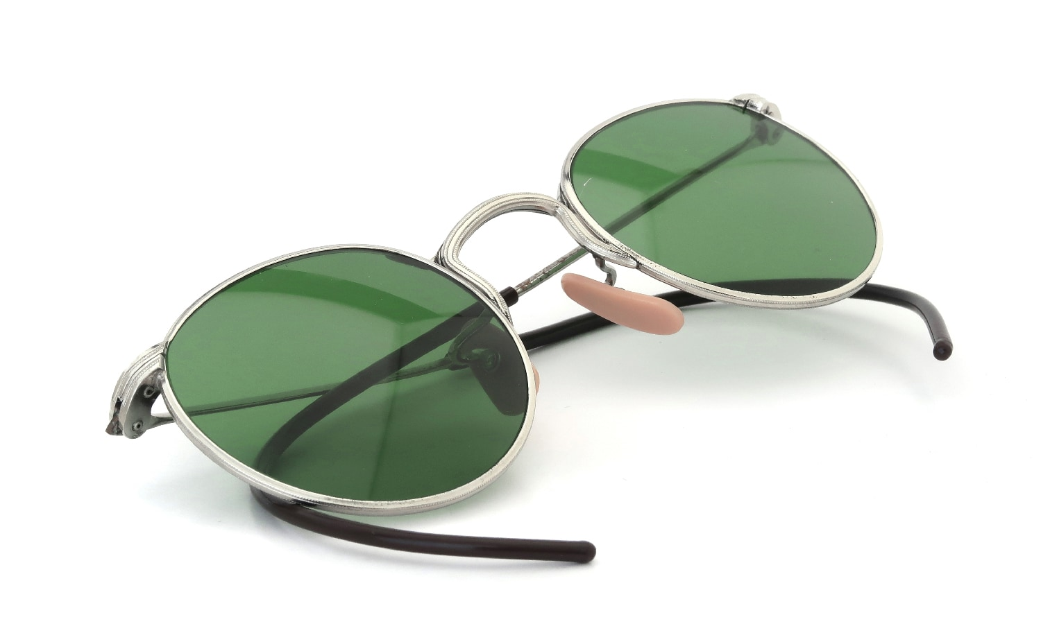 AO 1930s INDUSTRIAL FUL-VUE PANTO SILVER GREEN-GLASS-LENS 45-23