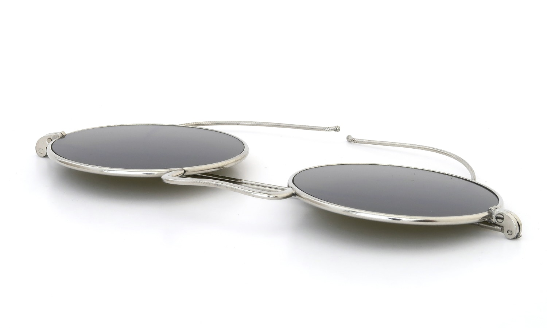 American Optical 推定1910-1920s UPPER BRIDGE ROUND ORIGINAL-FLAT-DARK-GREEN-GLASS-LENS