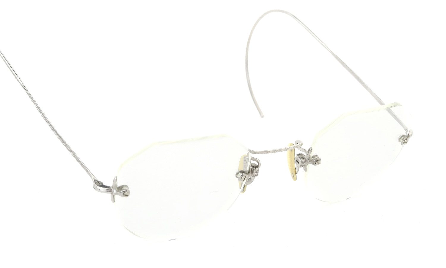 SHUR-ON 1920s RIMLESS CROWN-PANTO 14K-WHITE-GOLD-FILLED BOXED-MOUNTING