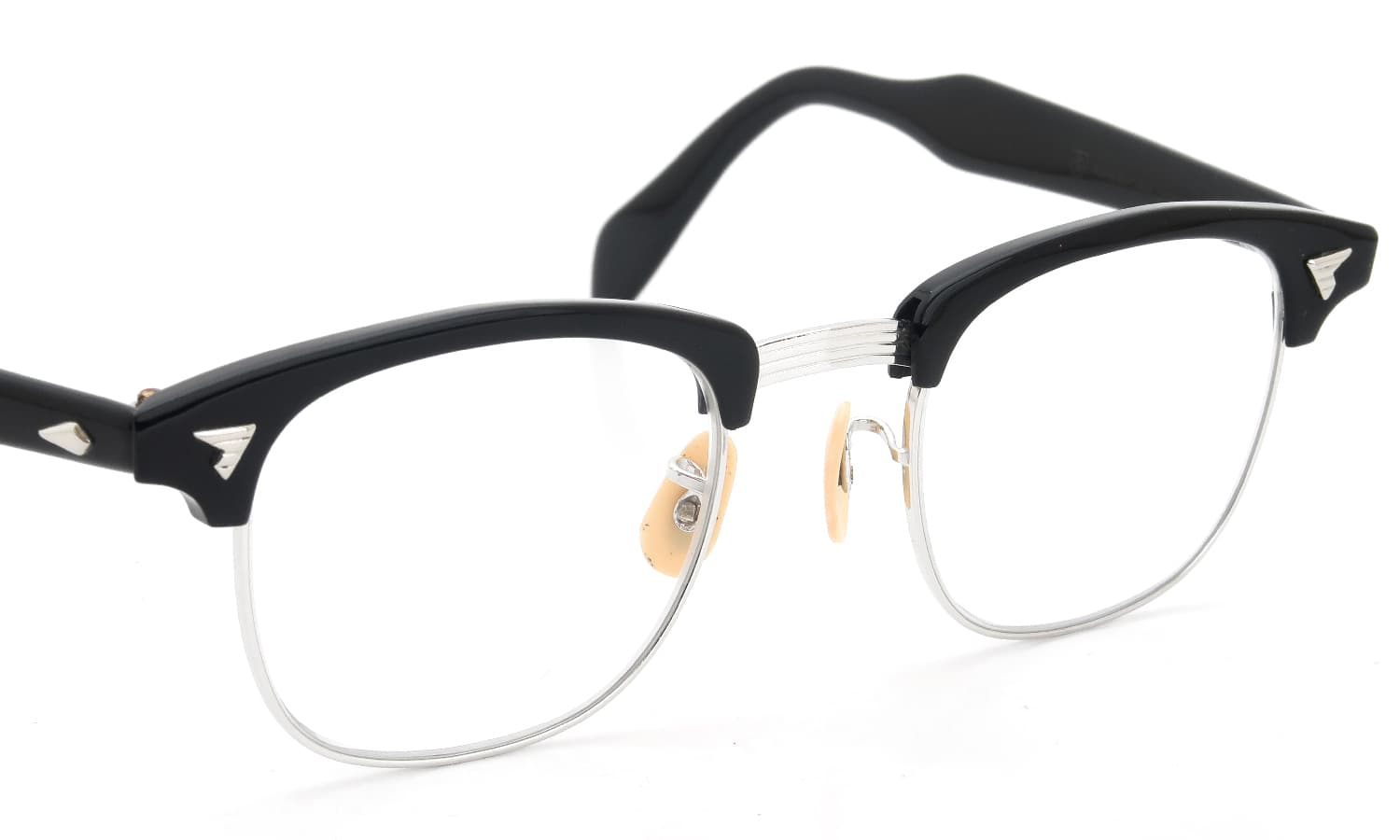 The Spectacle/ American Optical vintage 1950s~1960s マルコムXモデル type:2 ウイング鋲 Black/WG 1/10 12KGF 46-22